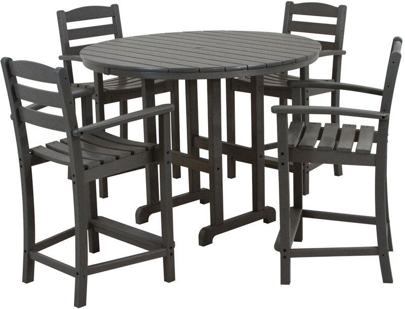 Polywood La Casa Cafe 4-Seat Round Counter Dining Set