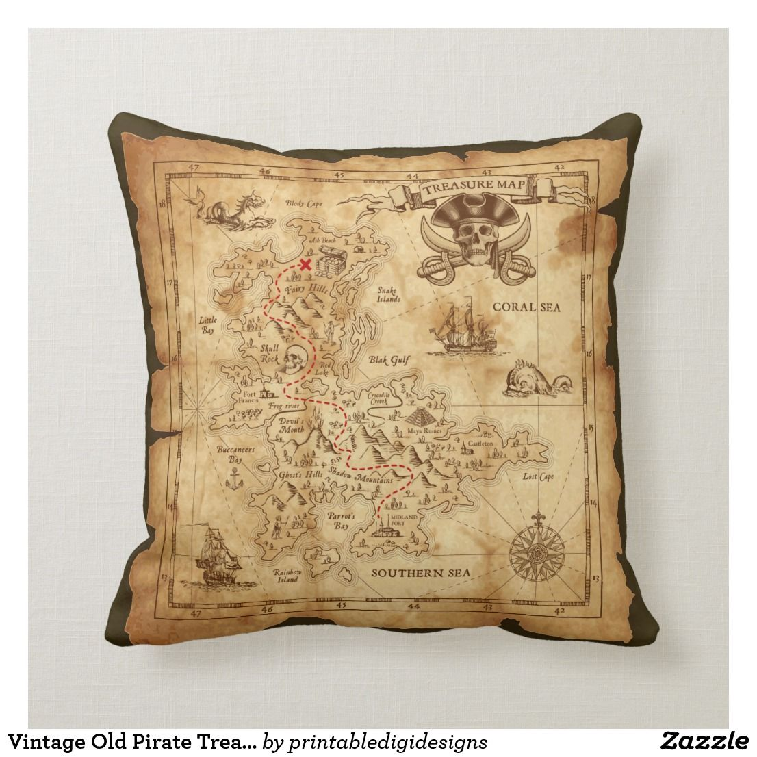 Vintage Old Pirate Treasure Map X Marks The Spot Throw