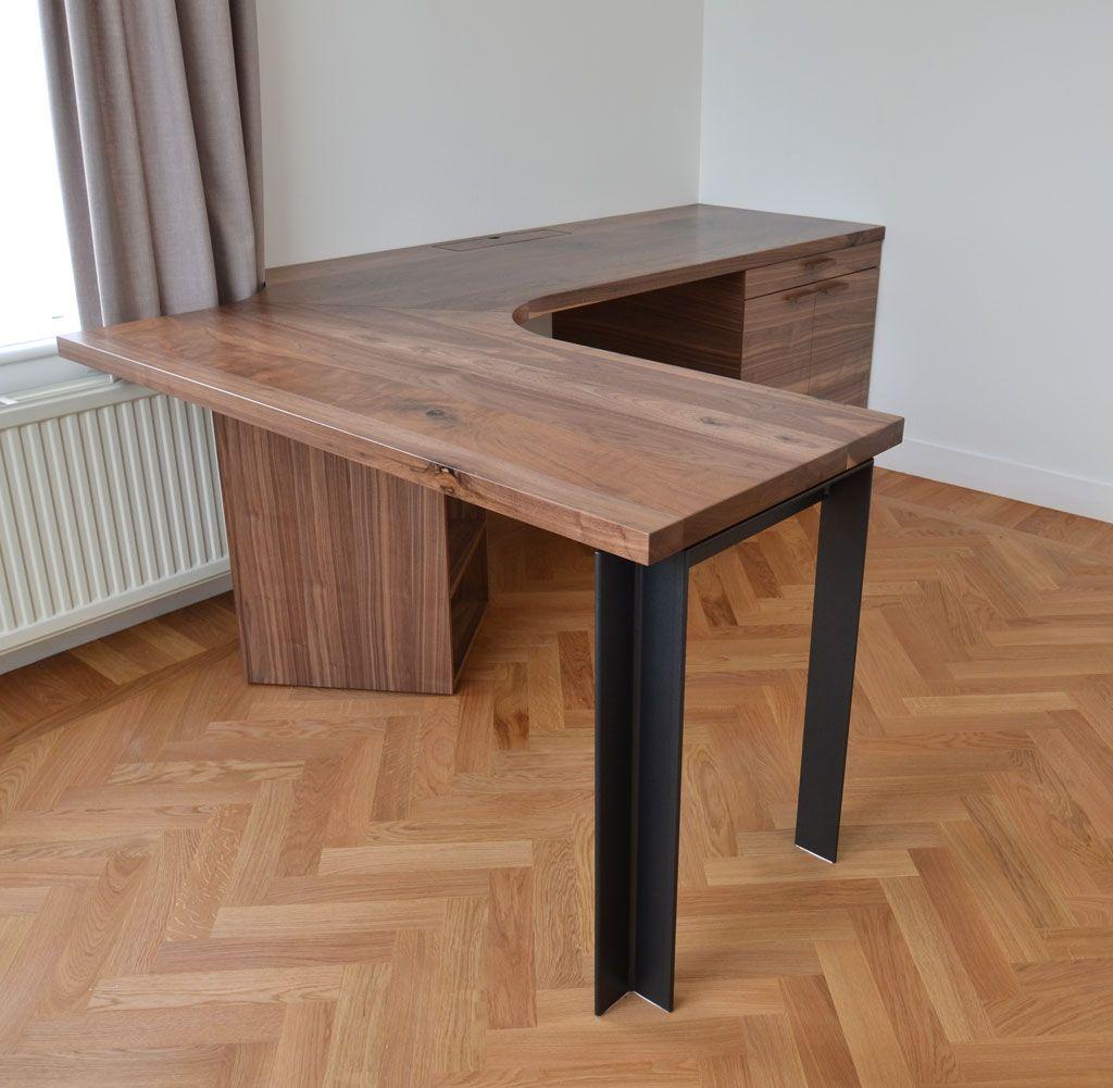 great wood slab corner desk with storage and steel legs 801 a street pinterest. Black Bedroom Furniture Sets. Home Design Ideas