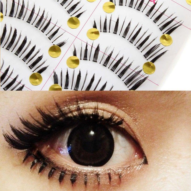 New 10 Pairs Natural Sparse Cross Eye Lashes Long False Eyelashes