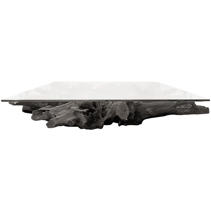 Burnt Teak Root Giant Table With glass For Sale ...