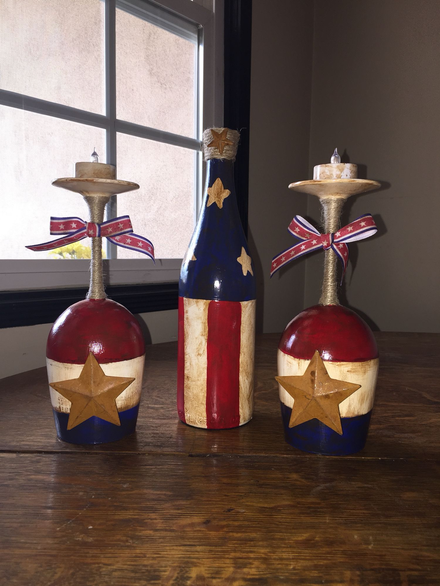 4Th Of July Decor Wine Bottles And Candle Holders