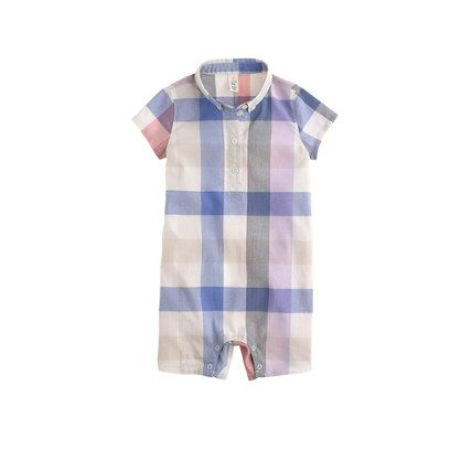 2f2967012b0e J.Crew - Baby polo one-piece in plaid Hello jcrew Easter baby ...