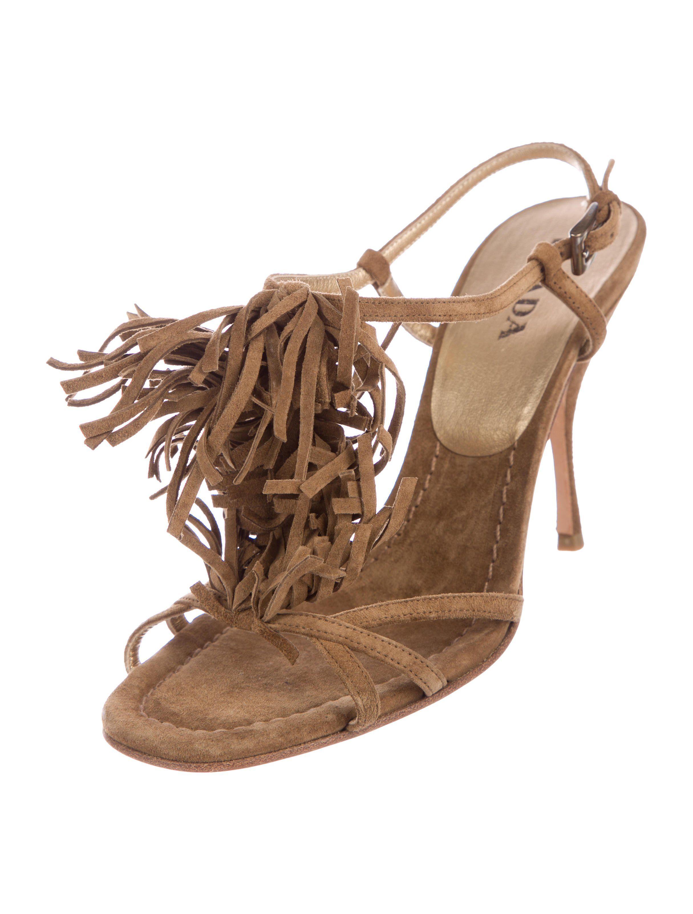 096933f9e537 Light brown suede Prada sandals with fringe trim embellishments at vamps
