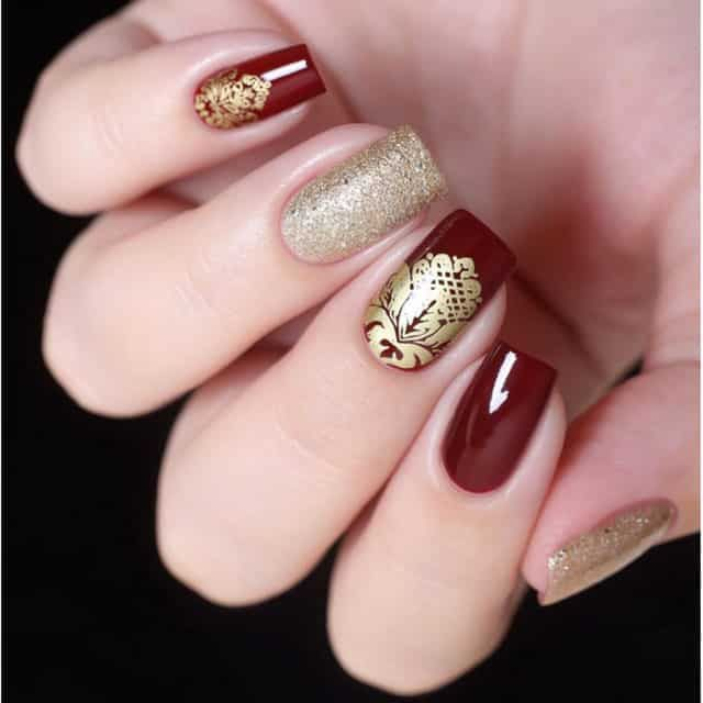 Nail It Daily Nail Ideas For Every Day Of The Week Nail It Red Wedding Nails Gold Nail Designs Red And Gold Nails