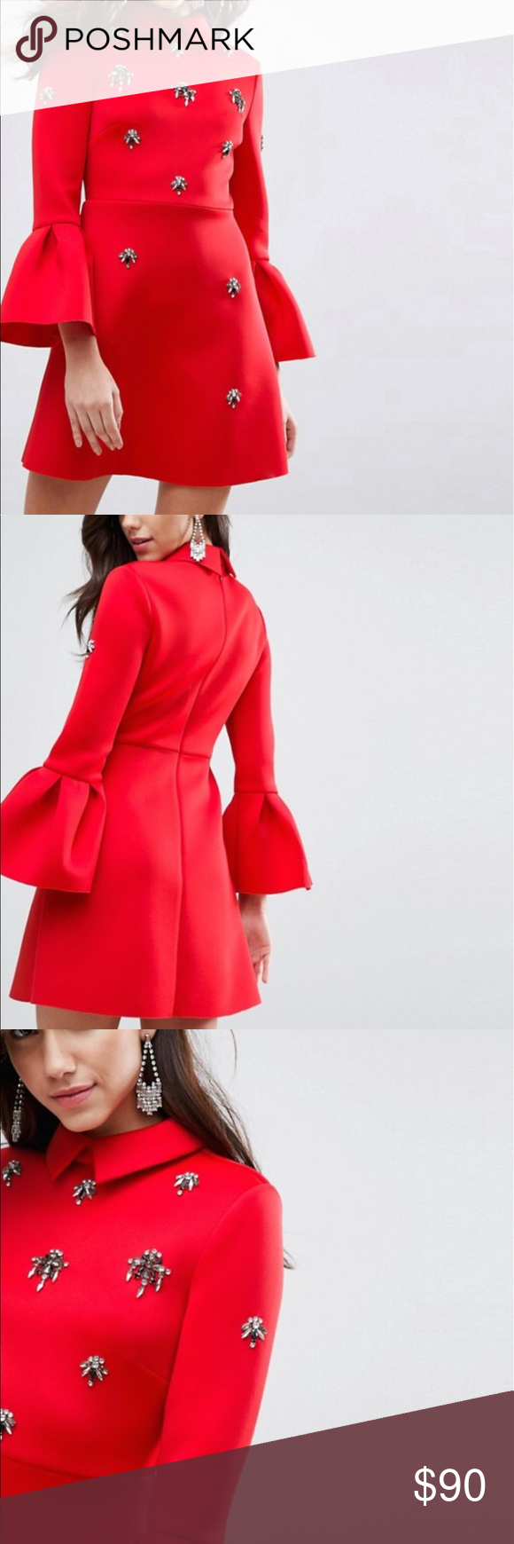 12f0583d2af ASOS Scuba Embellished A-Line Mini Dress Size 0 Brand new Comes in a size 0 ASOS  Dresses Mini