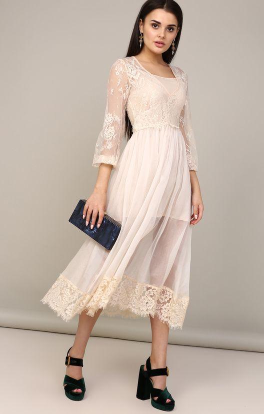 e3cf2ec3a50d59c Платье-миди из шифона и гипюра в романтическом стиле SYL / 2000000250656-0