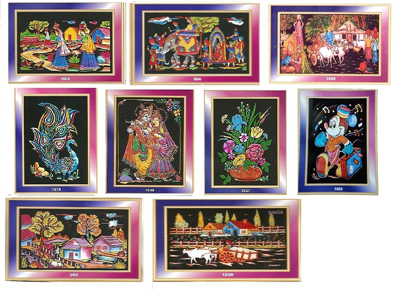 Buy EMBOSS PAINTING KIT 38 X 50 Cm Valvet Cloth PACK OF NINE FOR BIRTHDAY RETURN GIFT Online At Low Prices In India