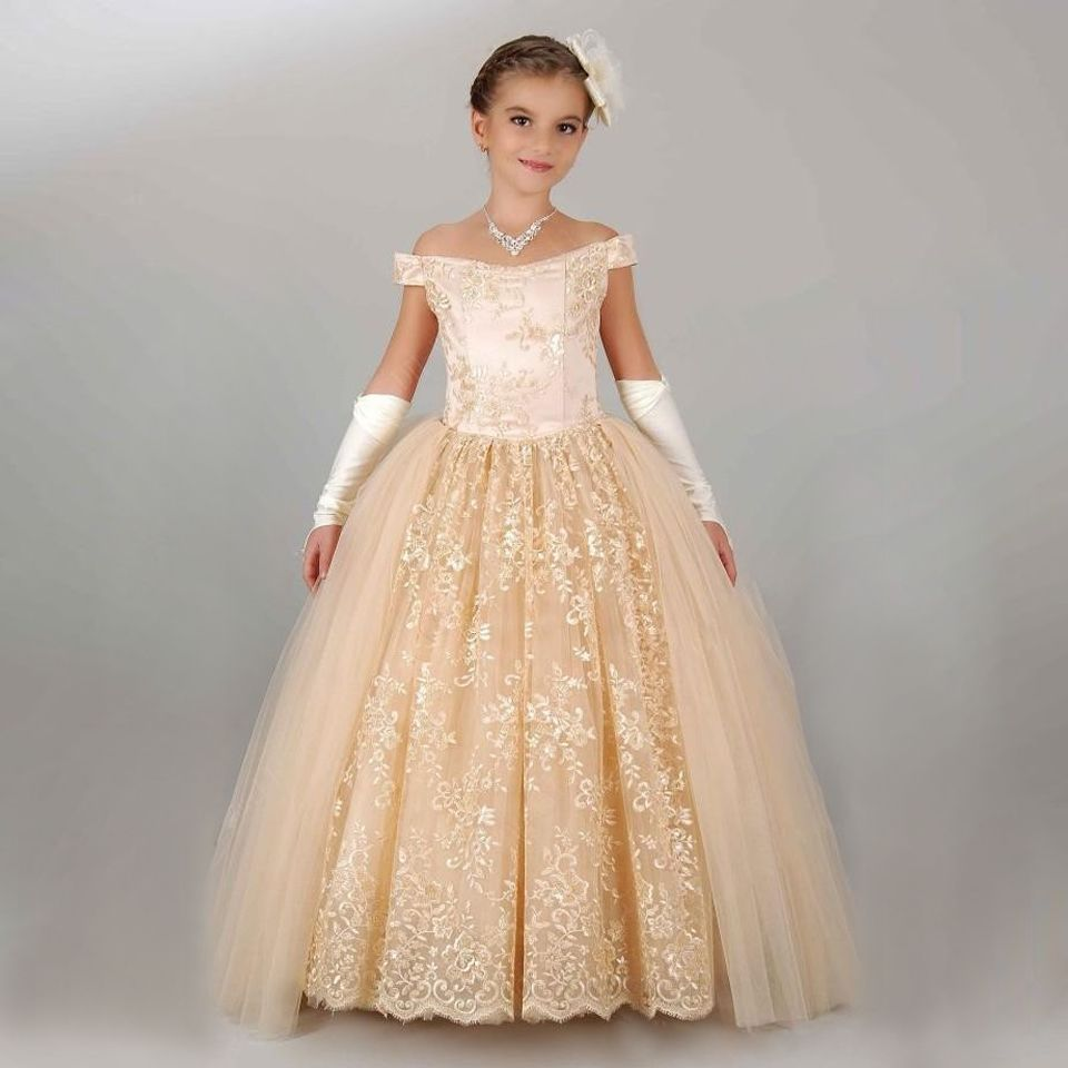 New Arrival Little Girl Ball Gown Gorgeous Appliques Lace Up Off ...