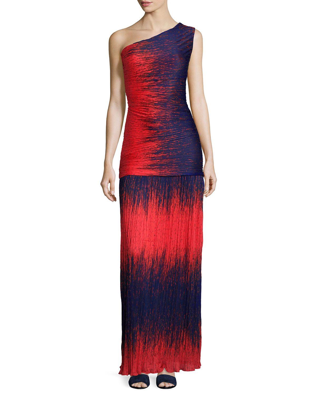 Halston heritage oneshoulder ombre gown fire wind print womenus