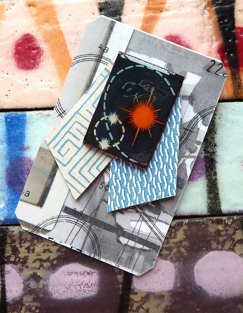 Bright : paper pin, pinback, on collaged display card