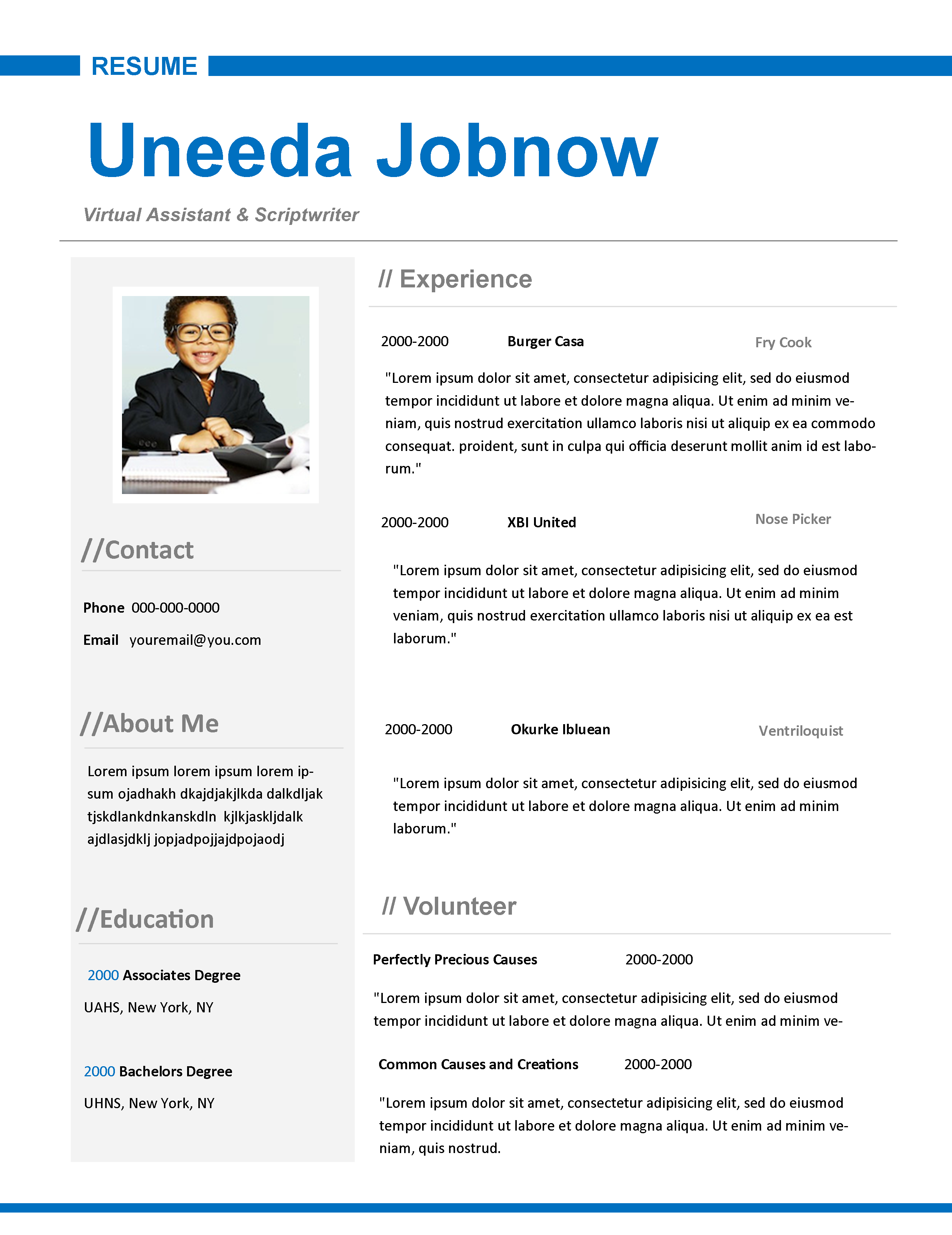 line up in blue resume by on event manager cv example ojt format for primary teacher