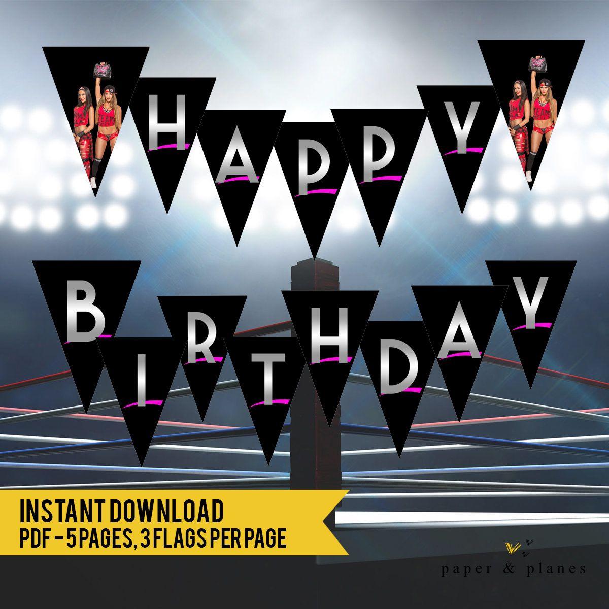 INSTANT DOWNLOAD WWE Divas Wrestling Happy Birthday Banner