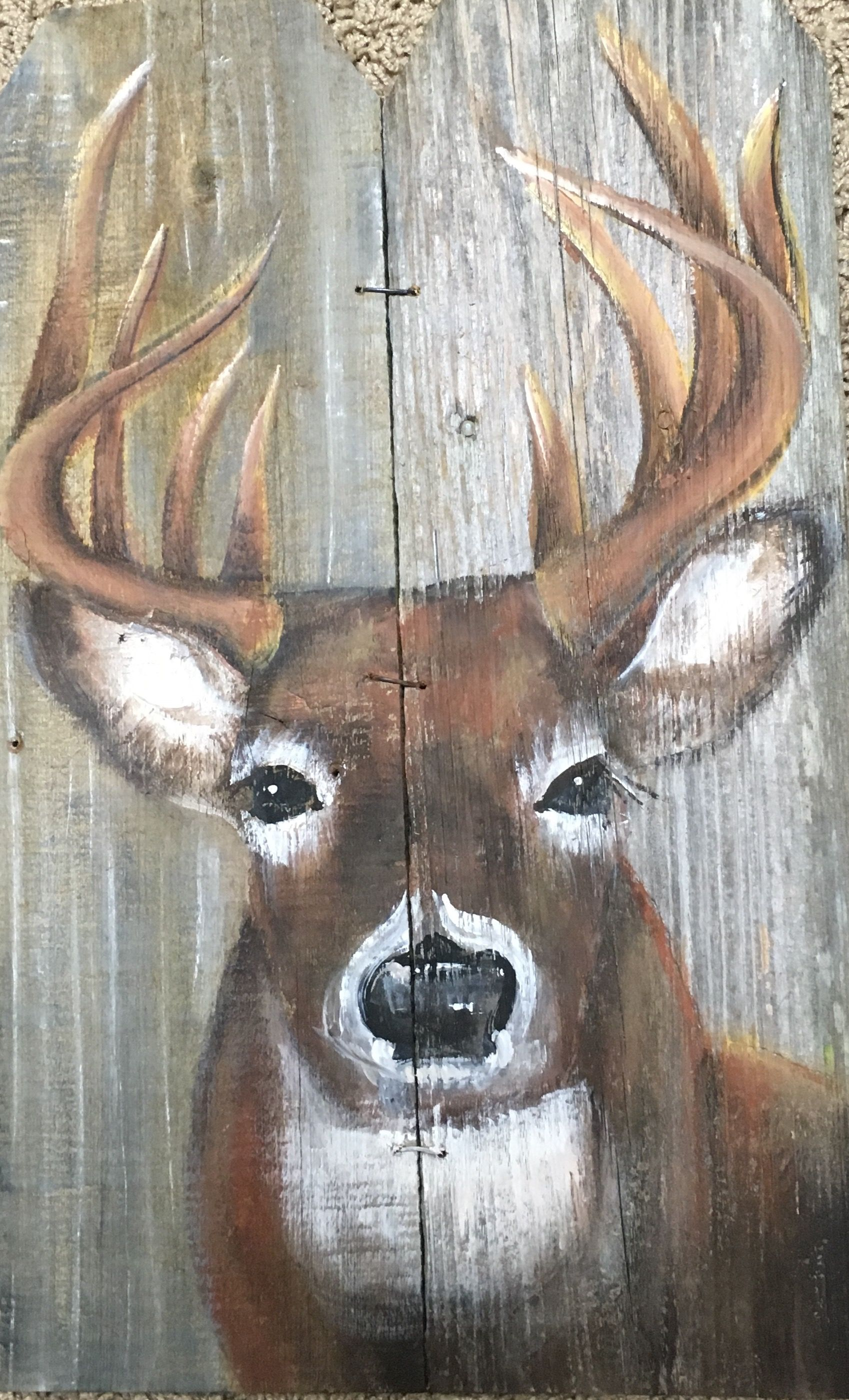 Deer painted on barn wood tole painting pinterest for Mural on wood