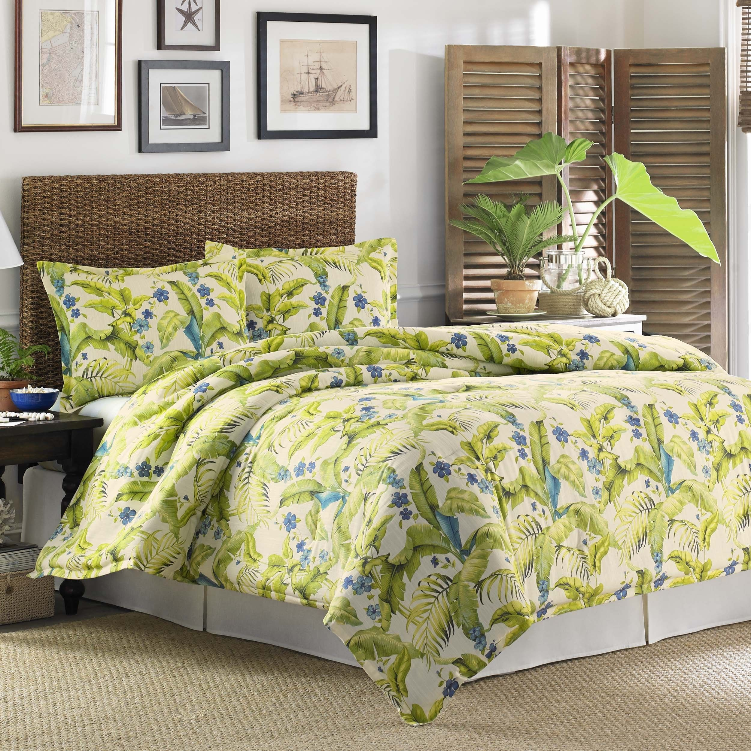 Cancun Palm 4 Piece Bedroom Set Wicker Rattan Queen King: Tommy Bahama Palm 4-piece Comforter Set