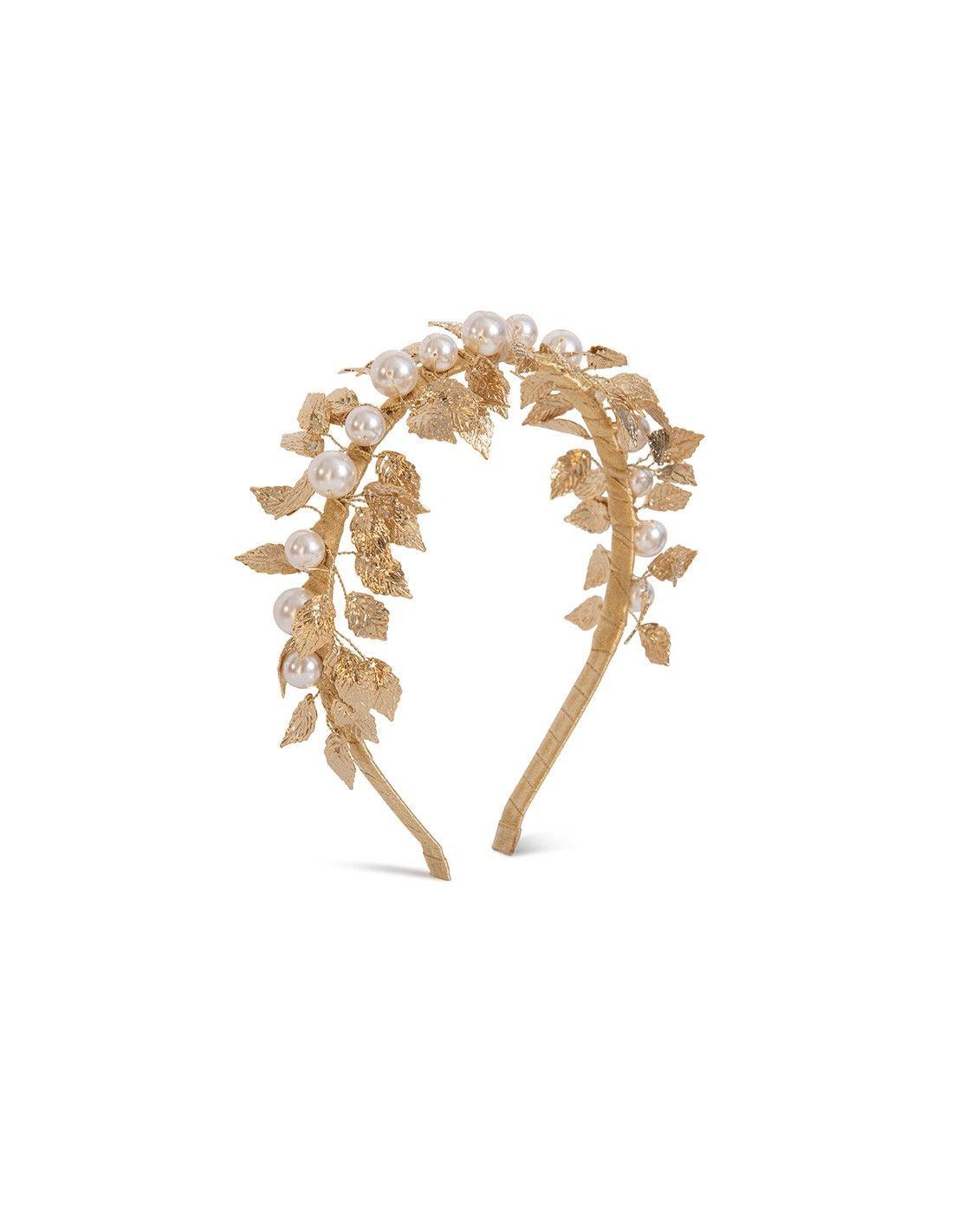 extraño básico Transitorio  Diadema de fiesta dorada con hojas oro y perlas Swarovski   Tiara, Black  tiara, Wedding tiara
