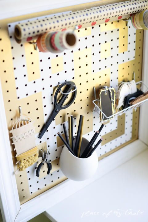 DIY pegboard organizer-gold and white-Placeofmytaste.com-6