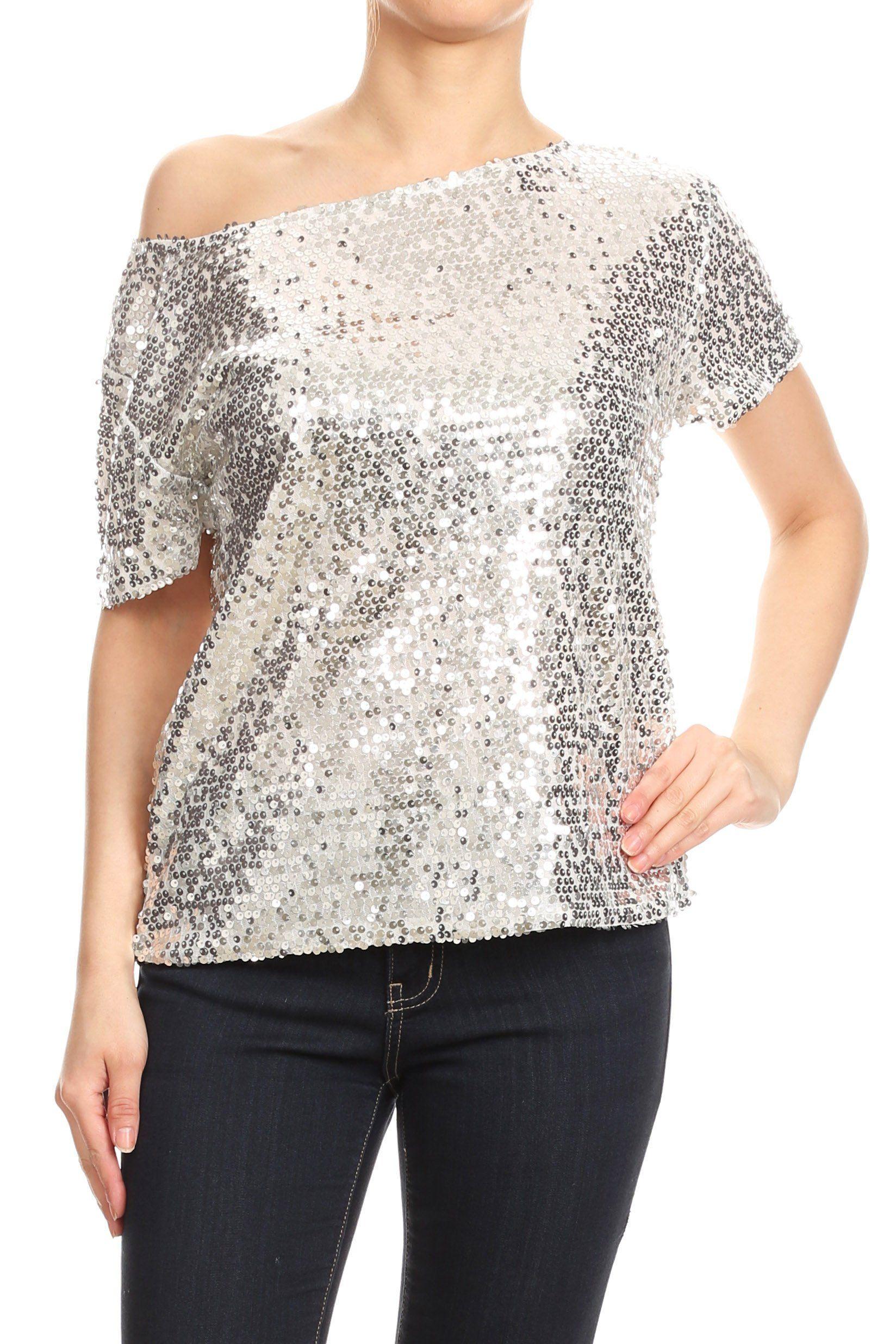 Glam Off-Shoulder Sequin Top - Silver / Medium