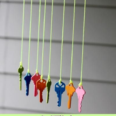 Key Wind Chime Craft. I would probably use fishing line...wonder how