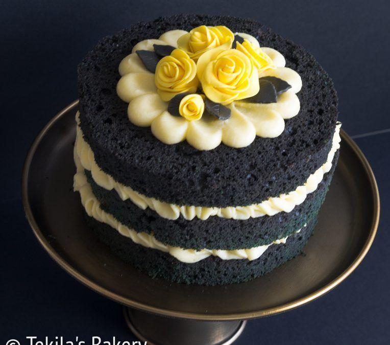 Licorise naked cake with lemon buttercream. Recipe on blog. www.tekila.fi