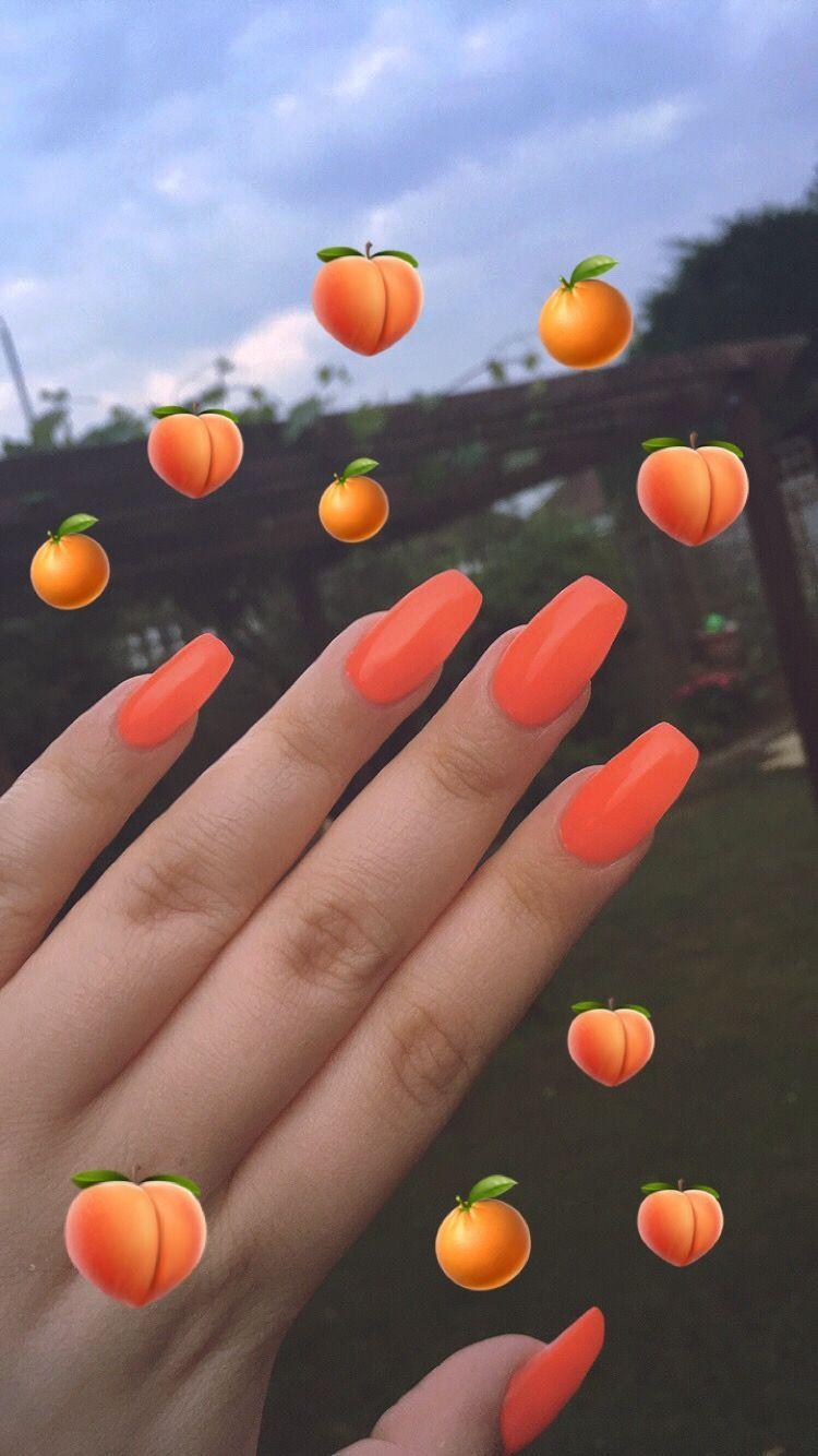 Nailartdiy Orange Acrylic Nails Short Acrylic Nails Orange Nails