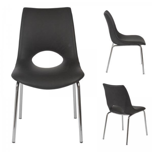 "Lara Side Chair - Set of 2 (Black / Chrome) (34""H x 21""W x 25""D)"