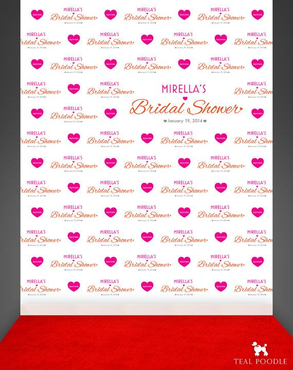 Custom Wedding Bridal Shower Step And Repeat Backdrop For Red Carpet Event Or Photo Booth