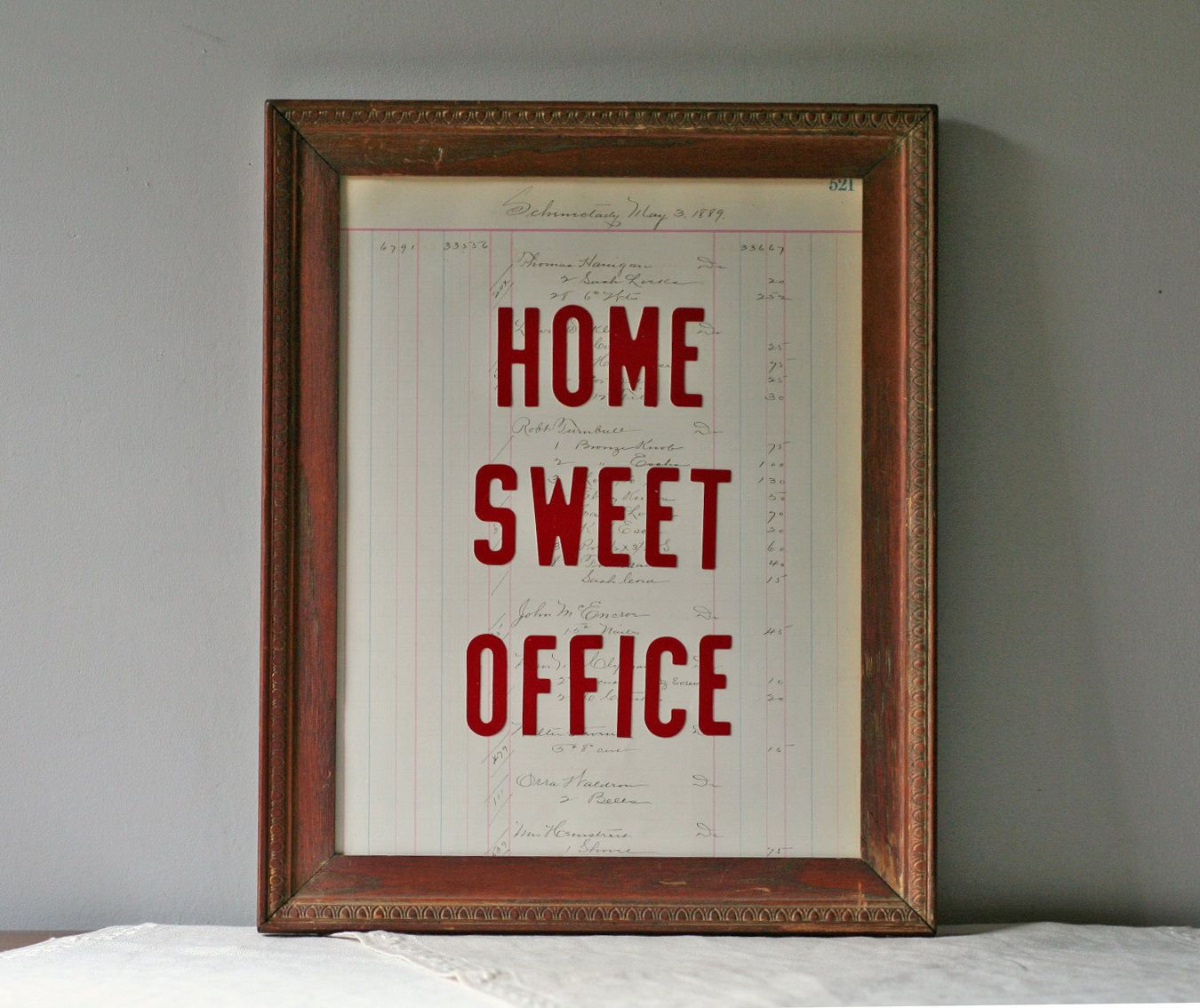 Home Sweet Office Vintage Framed Print