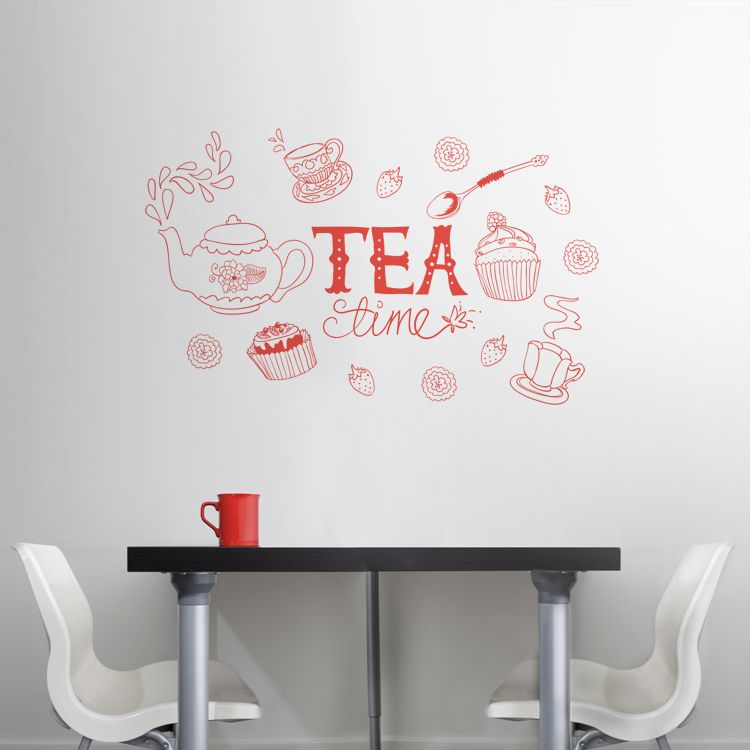 Tea Time Doodle Wall Decals Stickers Graphics From Dali Decals Just Bought One For My New Kitche Wall Decal Sticker Doodle Wall Custom Wall Decals