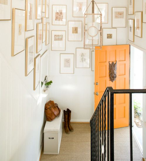 Eclectic Entry Design, #orange-door