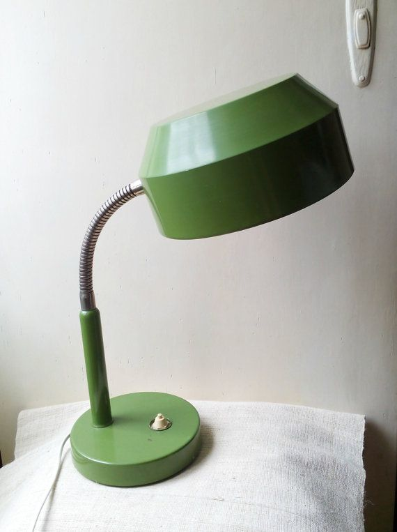 Vintage Olive Green Desk Lamp Office Table Lamp Light Mid