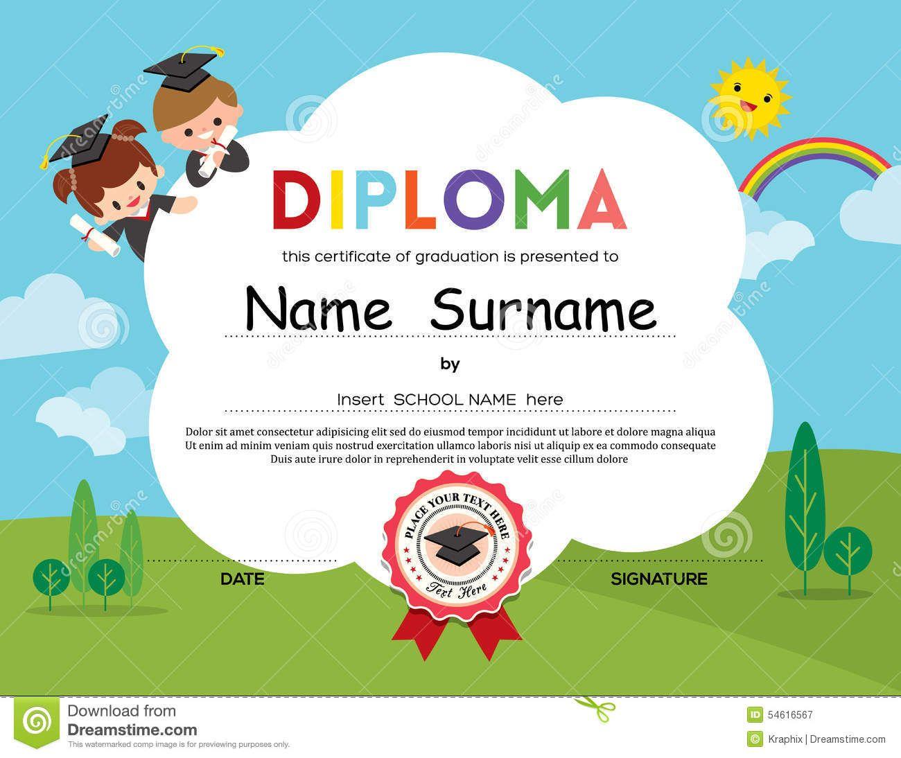Preschool elementary school kids diploma certificate background preschool elementary school kids diploma certificate background stock vector image 54616567 1betcityfo Images