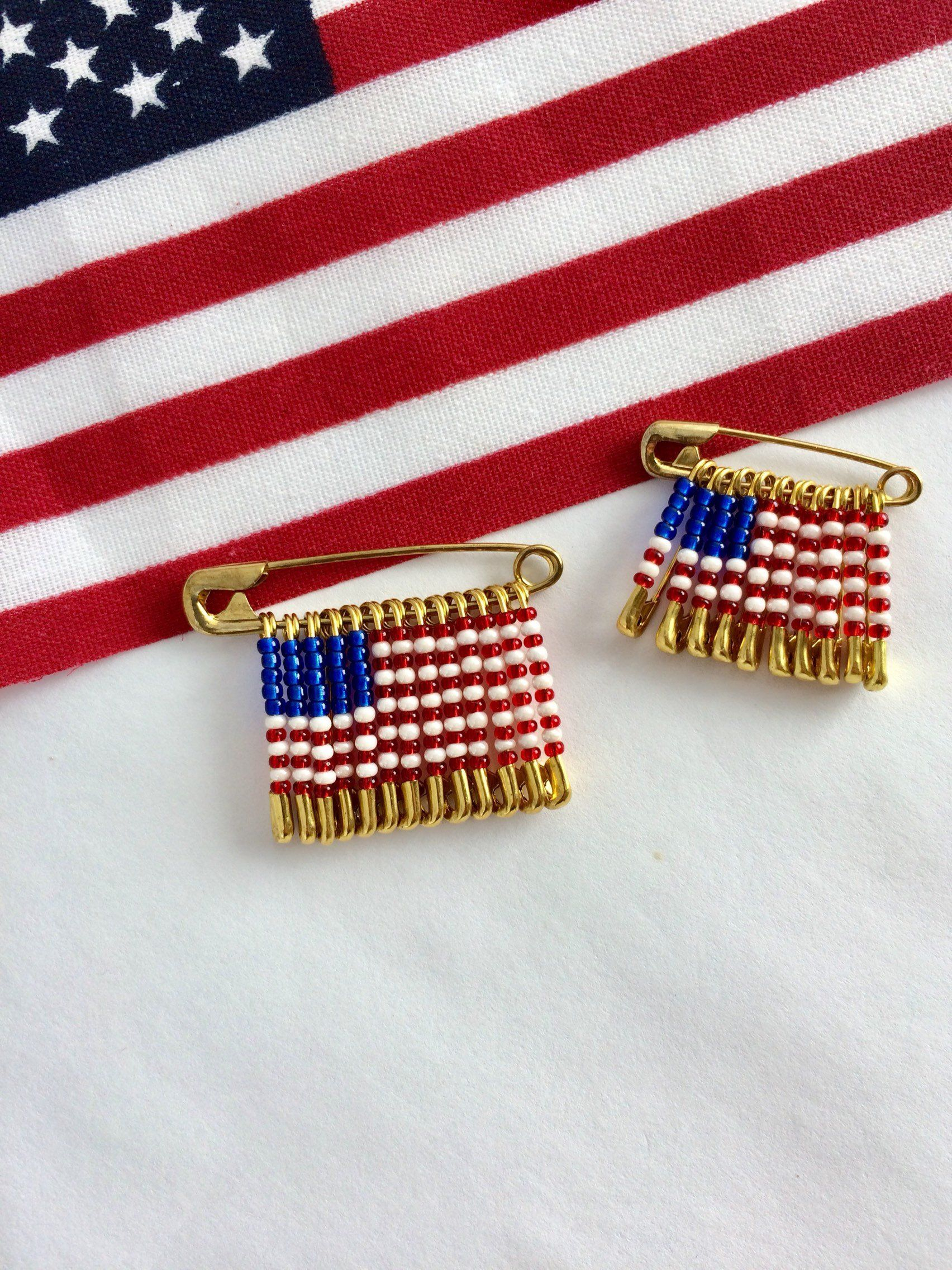 USA Flag Handmade Beaded Pin Brooch Safety Birthday Gift Veterans Day For Her Labor By FlagPinsbyAnnette On Etsy