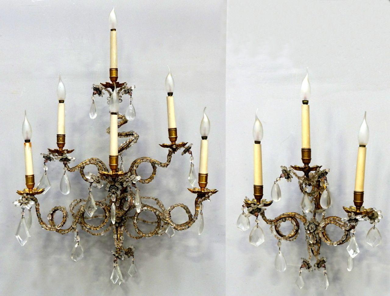 Coppia di applique 3 6 luci bronzo dorato e cristallo misure: 40 x