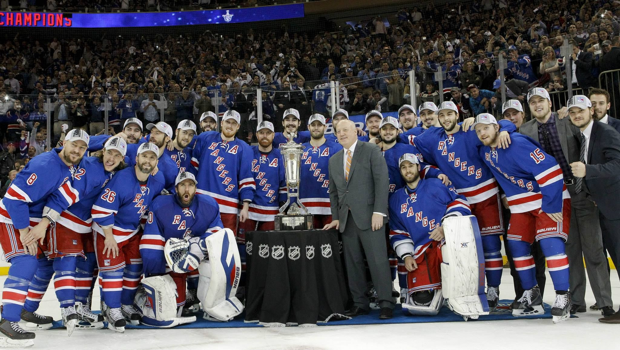 This Photo Is The Team Picture From When The Rangers Won The Prince Of Whales Trophy Eastern Conference Championship In Ranger New York Rangers Team Pictures