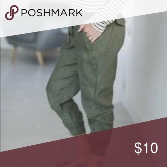 2c4839c275 Artisan NY Linen Cargo Pocket Joggers Sz XS Artisan NY Olive Green Cargo  Pants Features: