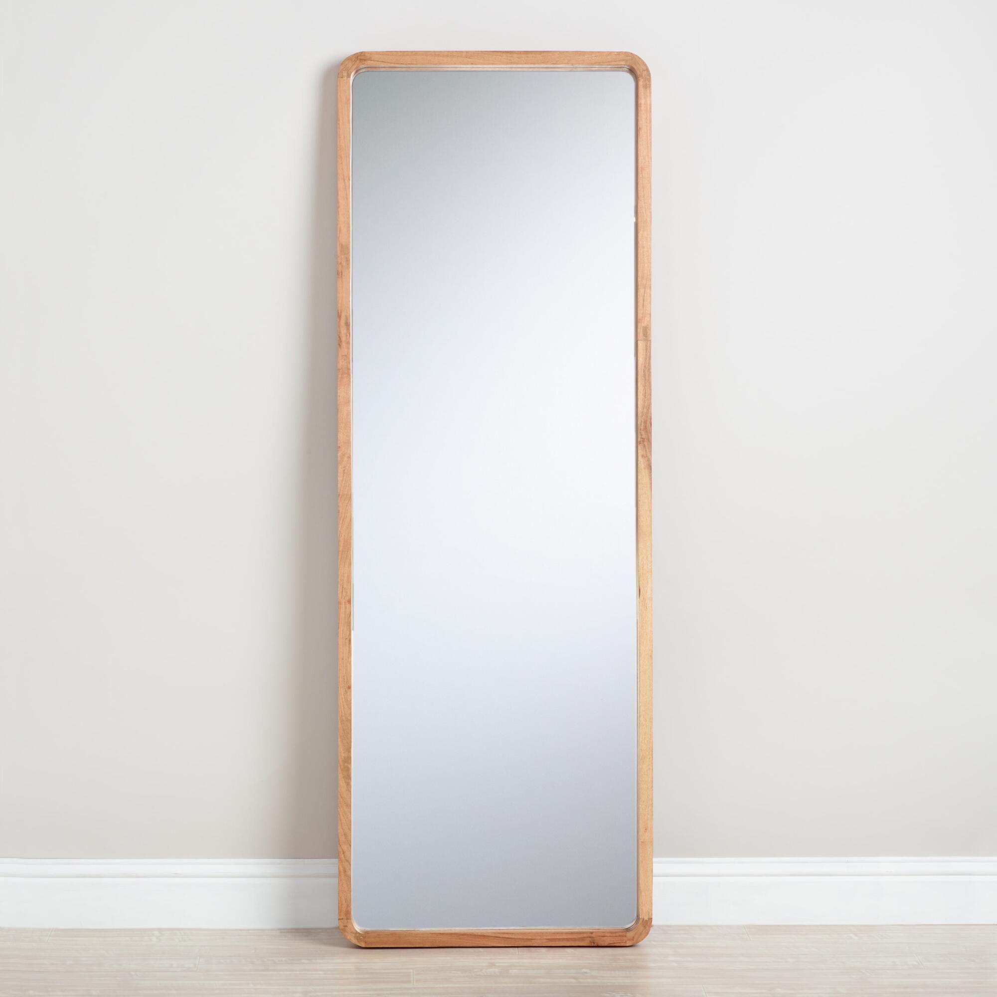 Natural Wood Leaning Full Length Floor Mirror By World Market Full Length Floor Mirror Floor Length Mirror Wood Full Length Mirror
