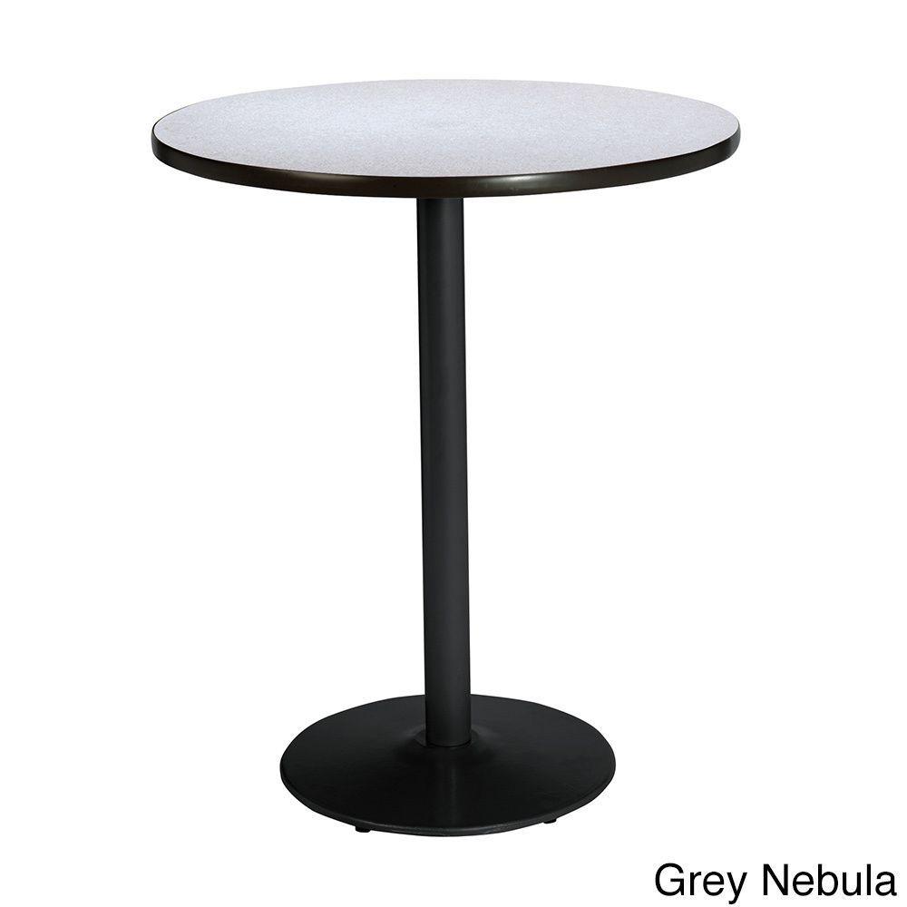 36-inch Round Bistro Height Pedestal Table with Round Black Base