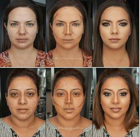 Adelgazar la cara con maquillaje antes y despues paso