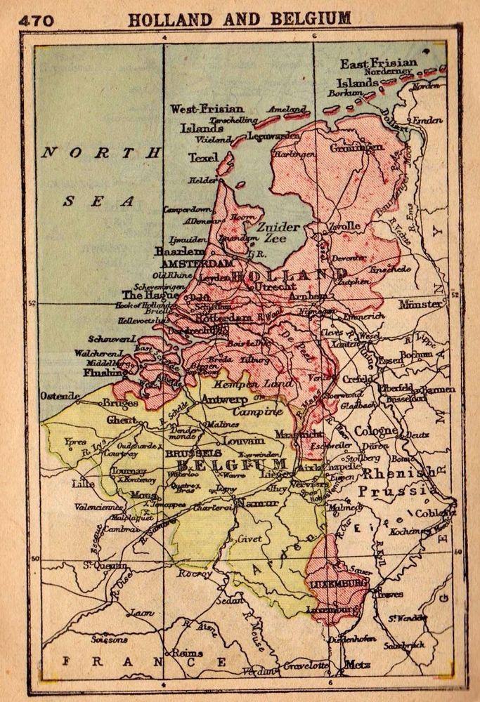 1902 antique holland map belgium map rare miniature map gallery wall art 2769