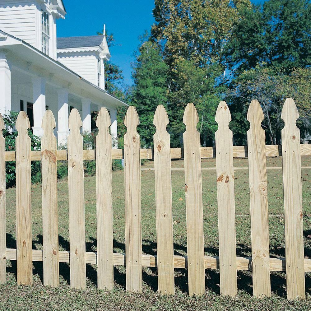 3 5 Ft H X 8 Ft W Pressure Treated Pine French Gothic Fence Panel 0360850 The Home Depot Fence Panels Wood Fence Wood Picket Fence