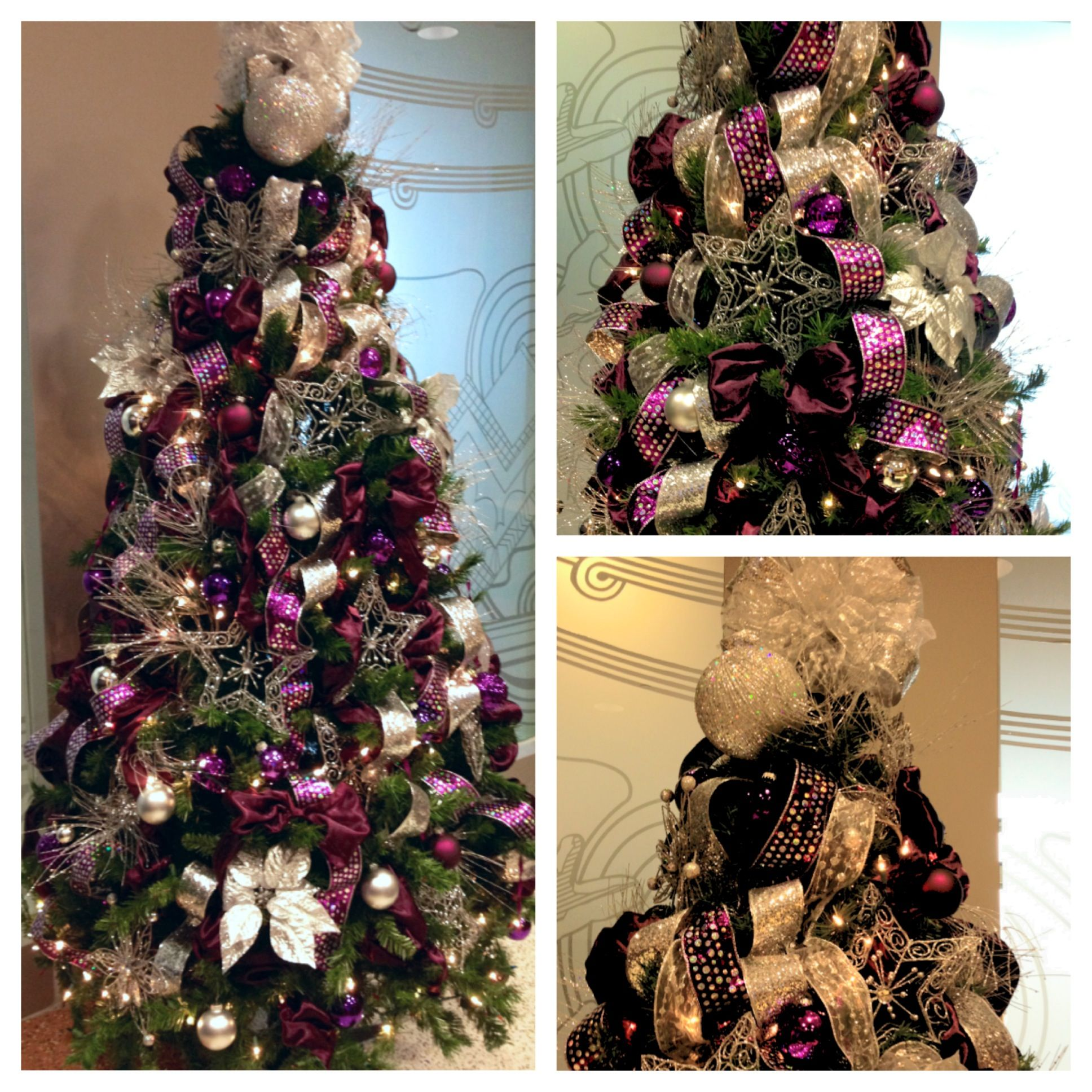 Christmas Decorations In Purple: Plum And Silver Christmas Tree!