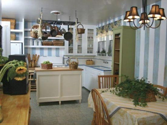 Rustikale Küchen Insel Holz Landhausstil Vintage Schränke Farbig