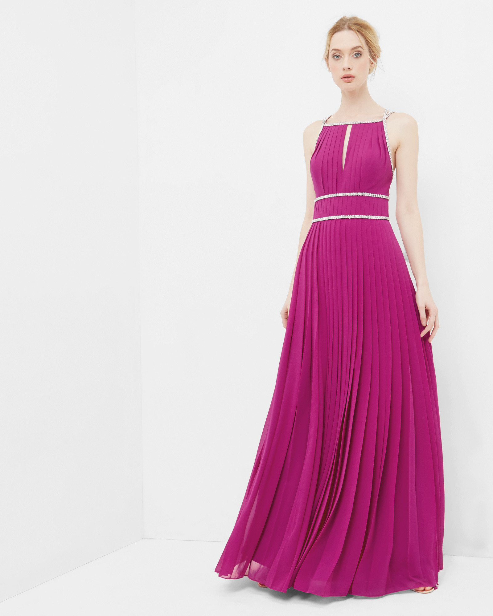 Embellished trim pleated maxi dress - Fuchsia | Dresses | Ted Baker ...