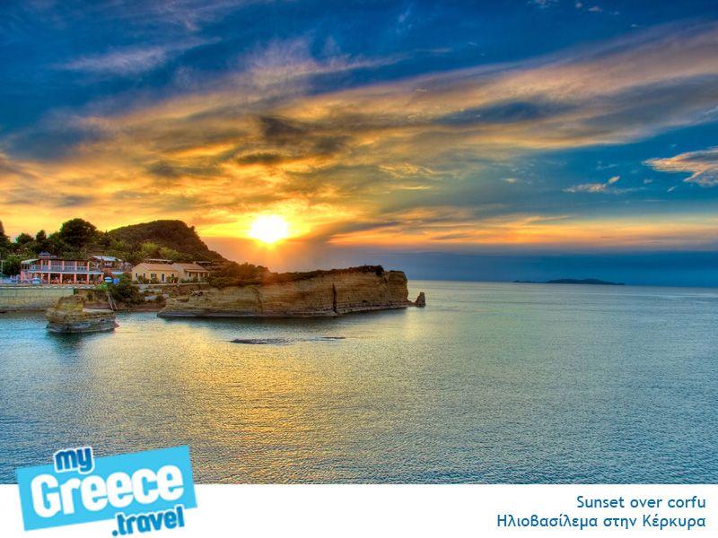 Sunset over Corfu  http://www.corfu-tours.gr/