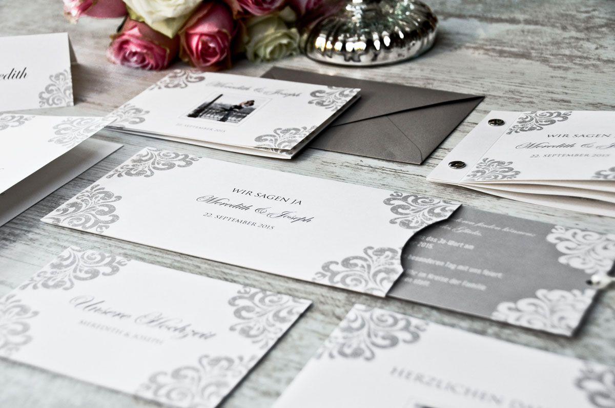 Klassisch Elegante Einladungskarten Zur Hochzeit Mit Barocken,  Einladungsentwurf