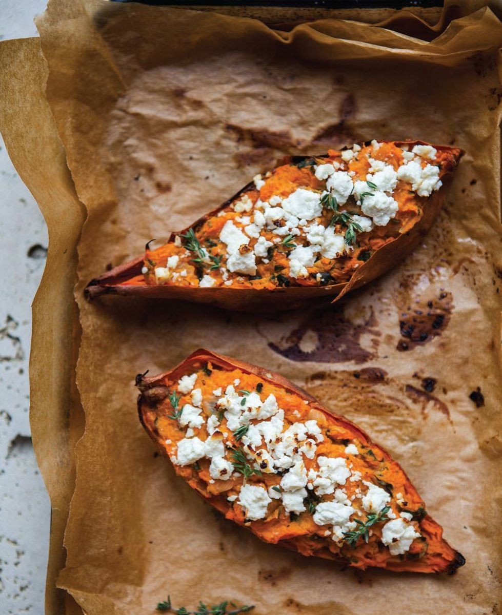 I'll sub goat cheese for feta, but otherwise, this sounds DELISH! Twice-Baked Sweet Potatoes - Read More at Relish.com