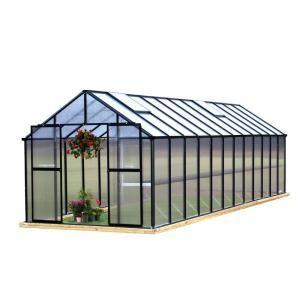 Monticello 8 Ft X 24 Ft Black Premium Greenhouse Mont 24 Bk Premium The Home Depot Best Greenhouse Greenhouses For Sale Polycarbonate Greenhouse