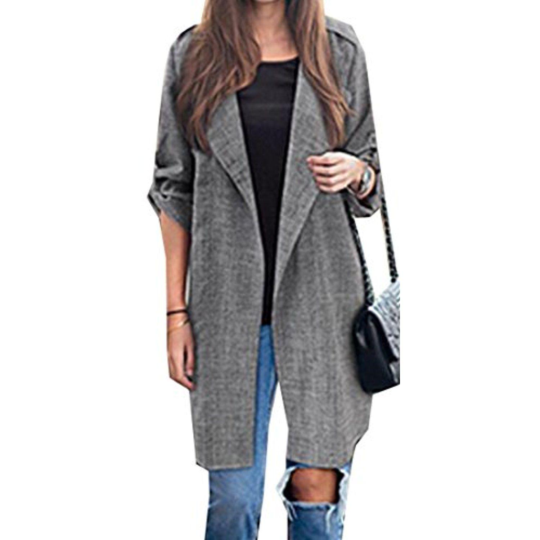 eb7f126977f Women Elegant Mid-length Cardigan Casual Plus Size Coat -- Click image for  more