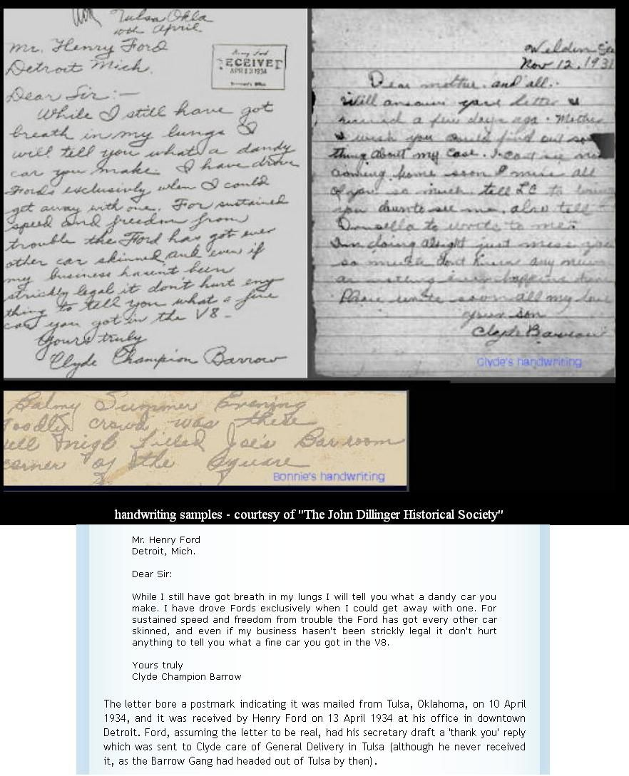 Letter From Clyde Barrow To Henry Ford Bonnie Clyde Bonnie Clyde